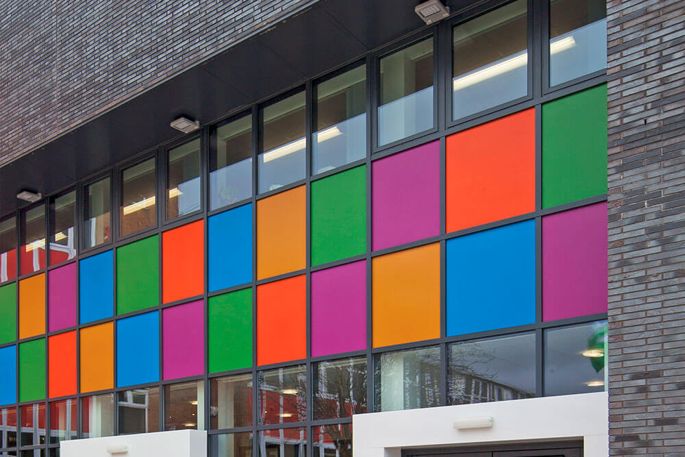 Aluminium commercial windows and coloured panels