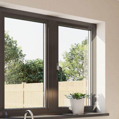 Black aluminium tilt and turn window close up