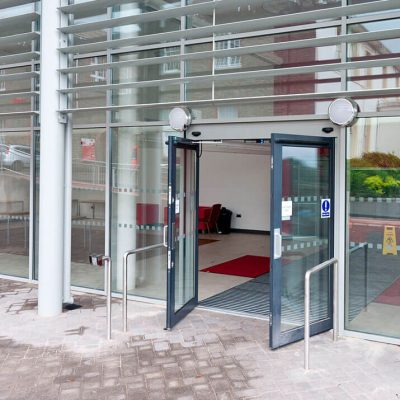 Black aluminium commercial doors