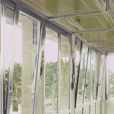 Grey aluminium tilt and turn windows