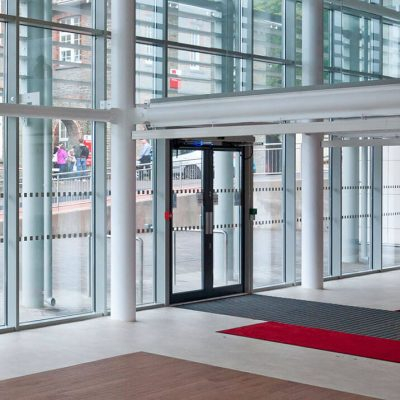 Interior view of aluminium commercial doors