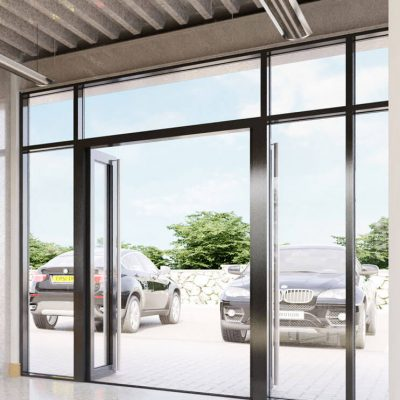 Open aluminium commercial doors