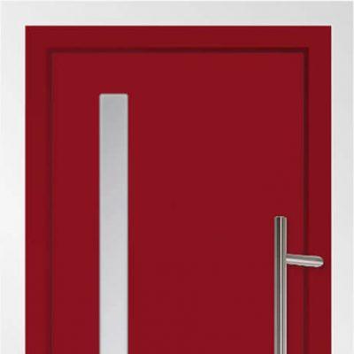 Red aluminium entrance door