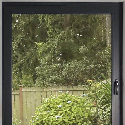Black aluminium tilt and turn window render
