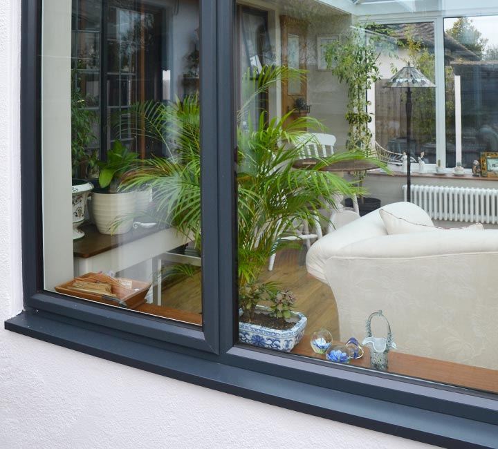 Aluminium windows in grey