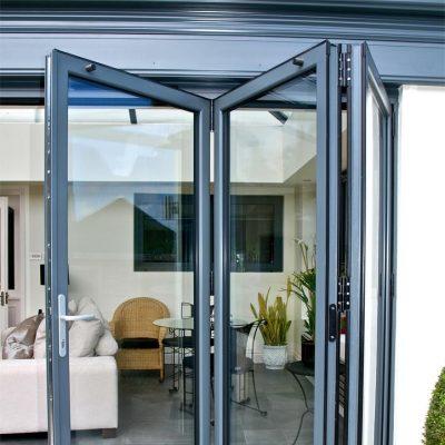 Grey aluminium bifold doors