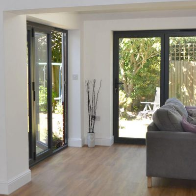 Flush black aluminium bifold door