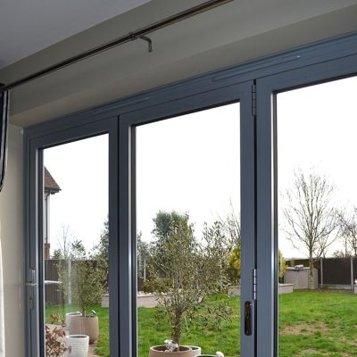 Aluminium Bi-fold Doors in Elephant Grey