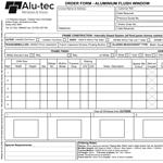Aluminium Flush Window Order Form