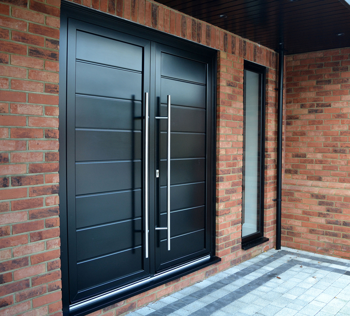 Black Aluminium Double Doors